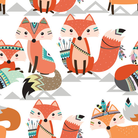 Tribal woodland foxes fabric by rocky_rocks_designs on Spoonflower - custom fabric