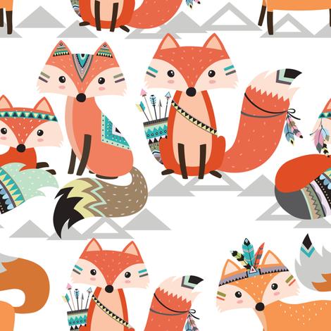 Tribal woodland foxes fabric by rocky_rocks_designs on Spoonflower - custom fabric