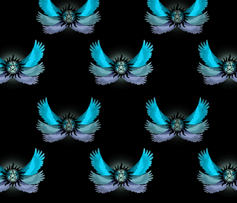 Supernatural Blue Angel Wings fabric by castiel's_angels on Spoonflower - custom fabric