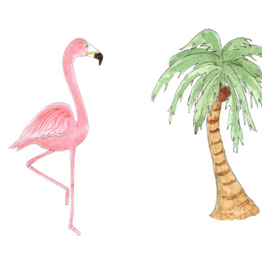Cut and Sew Flamingo and Palm Tree Pillow or Plushie