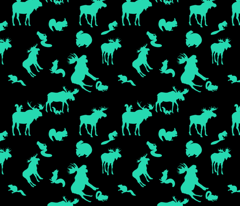 Supernatural Moose and Squirrel on black fabric by castiel's_angels on Spoonflower - custom fabric