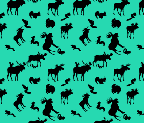 Supernatural Moose and Squirrel on Teal fabric by castiel's_angels on Spoonflower - custom fabric