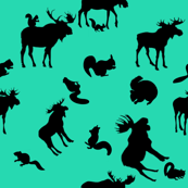 Supernatural Moose and Squirrel on Teal