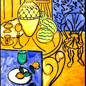 abstract still life tables chairs furniture pots cups fruits oranges water melons lemons vases  tangerines