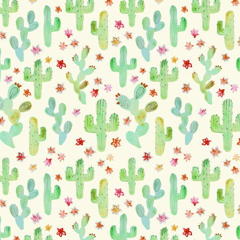 Watercolor Cacti fabric by tangerine-tane on Spoonflower - custom fabric