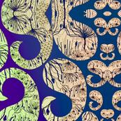 Agapanthus Paisley -  mirror pattern
