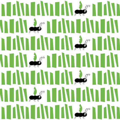 Ant & Grass GREEN fabric by halfpinthome on Spoonflower - custom fabric