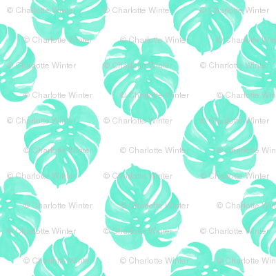 watercolor tropical palm print palm leaves monstera cheese plant leaf cute aqua tropical girls sweet pattern print