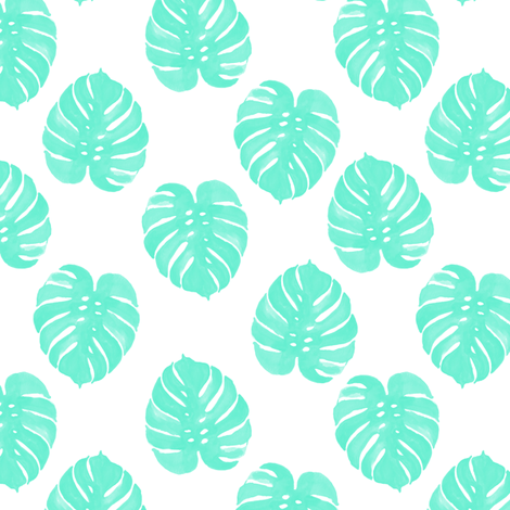 watercolor tropical palm print palm leaves monstera cheese plant leaf cute aqua tropical girls sweet pattern print fabric by charlottewinter on Spoonflower - custom fabric