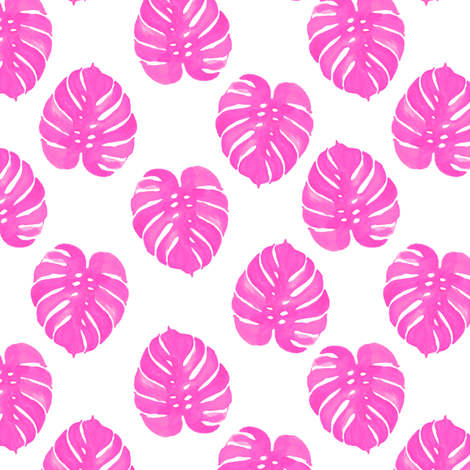 palm print tropical pink watercolor palm prints cute summer fabric by charlottewinter on Spoonflower - custom fabric