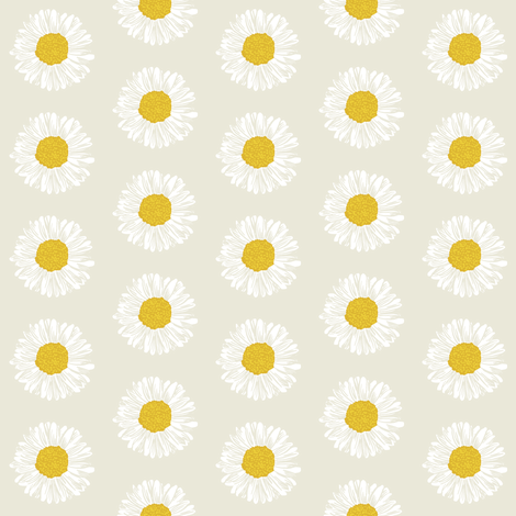 daisy daisies flowers florals cute painted girls soft cream light background fabric by charlottewinter on Spoonflower - custom fabric