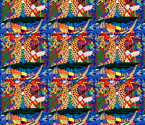 ships nautical transportation sea ocean sailing boats waves fishes koi carps abstract colorful  fabric by raveneve on Spoonflower - custom fabric
