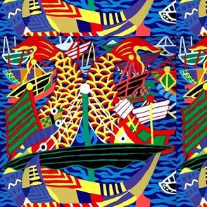 ships nautical transportation sea ocean sailing boats waves fishes koi carps abstract colorful