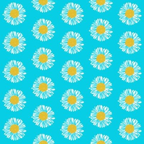 daisy flowers painted aqua turquoise girls flowers simple florals