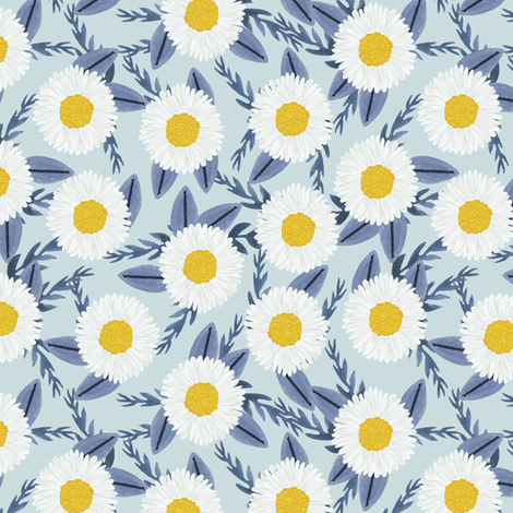 daisies cute flowers florals daisy painted watercolor fabric by charlottewinter on Spoonflower - custom fabric