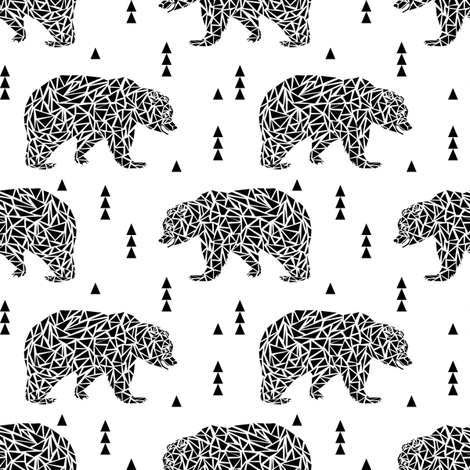 black and white geo bear bear kids nursery triangles geo boys fabric by charlottewinter on Spoonflower - custom fabric