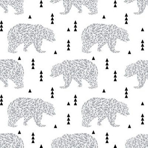 bear light grey boys nursery grey kids geo simple