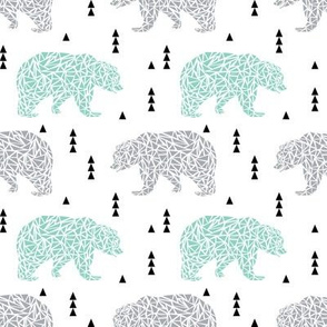 bear grey bear mint bear kids boys nursery boys mint and grey