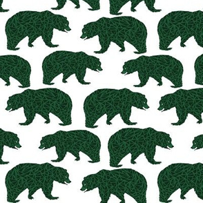 bear dark green boys bear fabric kids nursery bears
