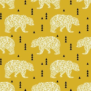 bear mustard geo bear geometric kids boys nursery