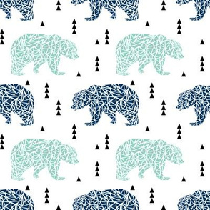 bear navy and mint bears bears kids boy nursery navy blue and mint fabric
