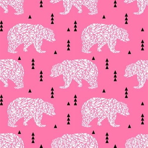 bear pink geo white triangle kids girls girl bear outdoors