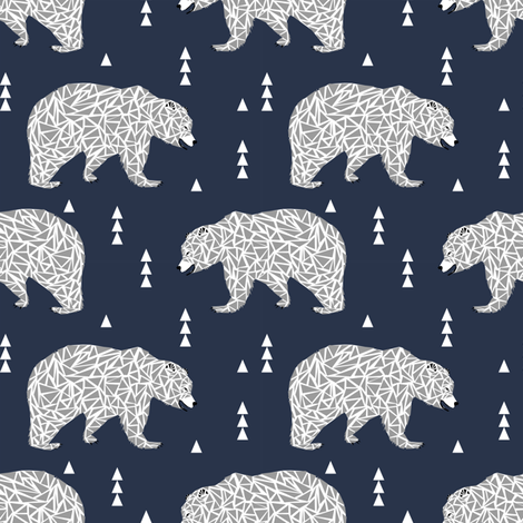 geo bear geometric kids boys nursery boys bear kids triangle fabric by charlottewinter on Spoonflower - custom fabric