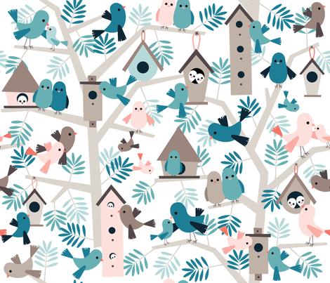 bird family tree fabric heleenvanbuul spoonflower. Black Bedroom Furniture Sets. Home Design Ideas