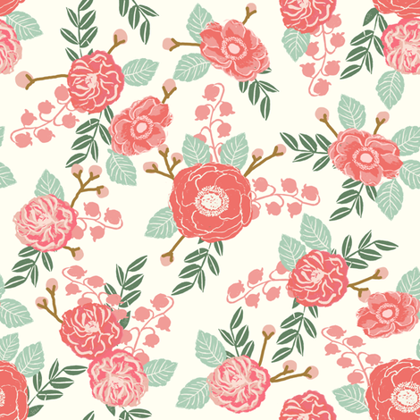 flowers florals girls sweet cream pink and mint hand-painted flowers fabric by charlottewinter on Spoonflower - custom fabric