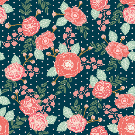 flowers navy mint pink girls sweet preppy flowers florals dots baby nursery fabric by charlottewinter on Spoonflower - custom fabric