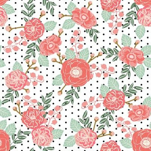 florals flowers pink white mint polka dot girls baby nursery