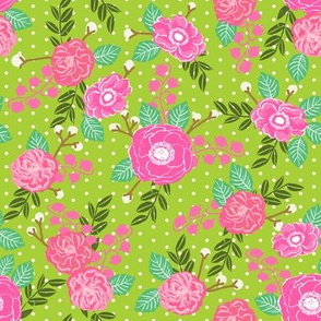 florals flowers pink and green lime green sweet painted flowers baby girl nursery