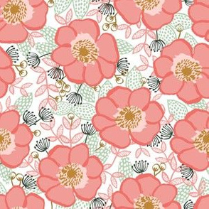 poppy florals floral painted flowers watercolor girls coral mint cute fabric