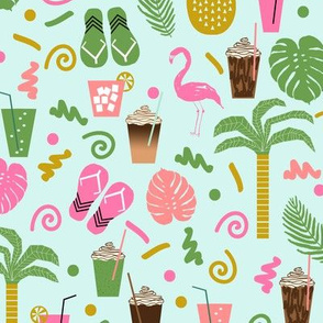 tropical summer mint flamingo pink and green