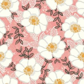 poppies pink and white cute painted flowers florals paint