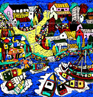 abstract fisherman villages nautical boats yachts carps koi fishes houses towns trees rivers lakes oceans seas traditional