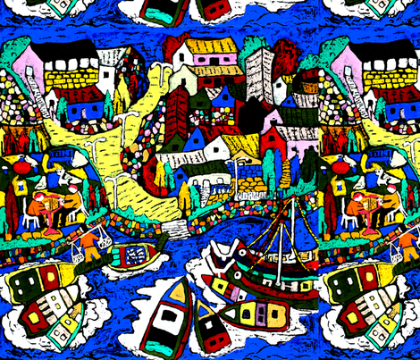 abstract fisherman villages nautical boats yachts carps koi fishes houses towns trees rivers lakes oceans seas traditional fabric by raveneve on Spoonflower - custom fabric