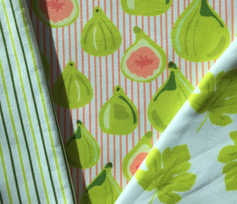 Fig Fruit || Lime Green Food Peach Coral Stripe pinstripe Summer Small Leaf Leaves_Miss Chiff Designs