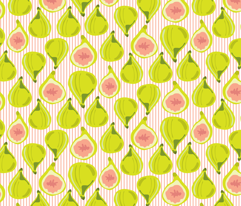 Fig Fruit  Coral Peach Lime Green || Leaves Orange pinstripe  stripe Summer_Miss Chiff Designs fabric by misschiffdesigns on Spoonflower - custom fabric