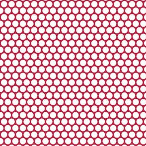 White Honeycomb Dot on Red