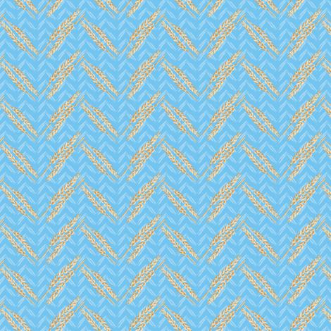 Chevron Wheat || Bread food Light Blue Gold Farm Midwest Missouri Iowa Indiana Farmer Gold Blue Grain_Miss Chiff Designs fabric by misschiffdesigns on Spoonflower - custom fabric