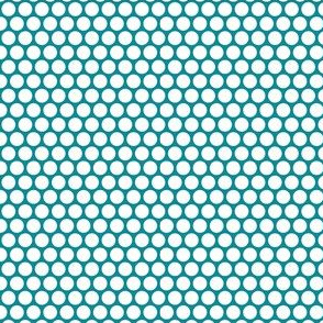 White Honeycomb Dot on Teal
