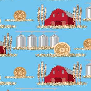 Red Barn Midwest Farmer Farm Wheat Hay Blue Sky Missouri Iowa Indiana_Miss Chiff Designs
