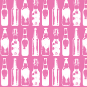 Vintage Beer Bottles - Pink - Small