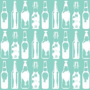 Beer Bottles on Teal