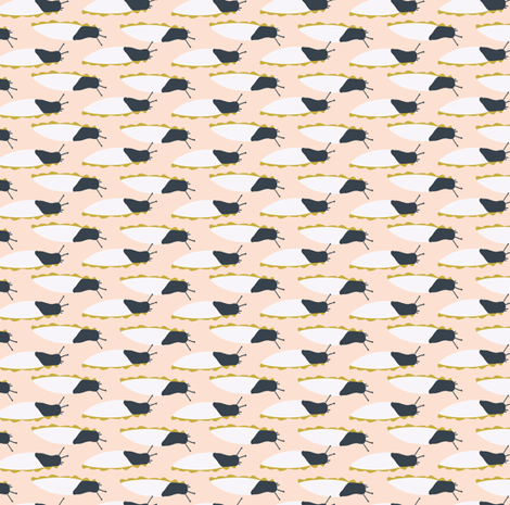 Mighty Banana Slug in peach and Navy small  fabric by hey_there_louise on Spoonflower - custom fabric