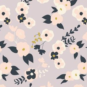 Forest Flowers in Gray, pink, and navy