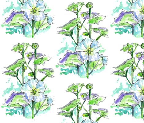 White Hollyhocks fabric by countrygarden on Spoonflower - custom fabric