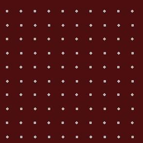 dark dark red with white dots