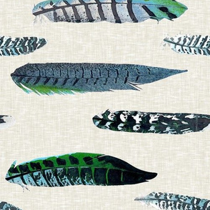 Luxe Feathers in Blue and Green / Railroaded